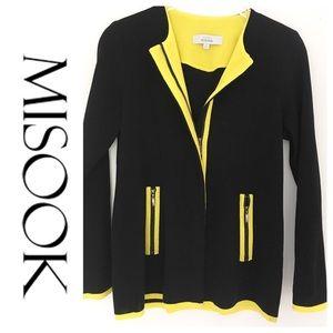 MISOOK Black Knit Zip-Up Jacket w Yellow Trim 🐝
